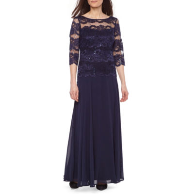 Melrose 3/4 Sleeve Lace Evening Gown