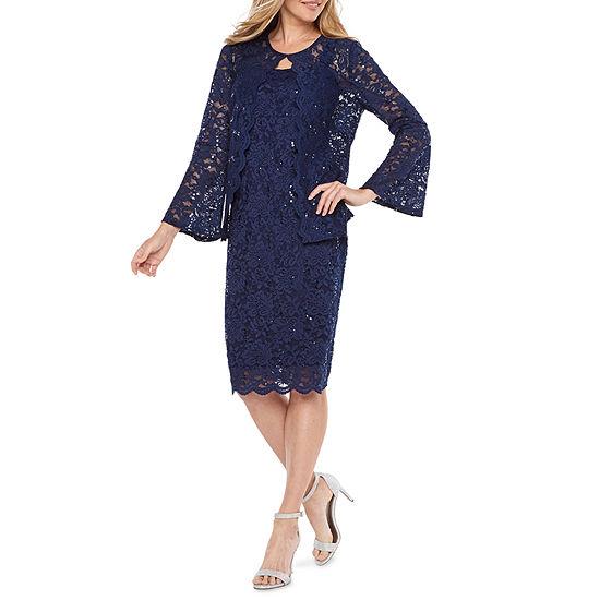 Onyx Nites Long Sleeve Midi Jacket Dress