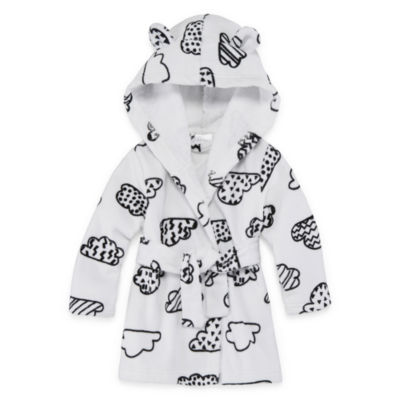 Okie Dokie Black & White Cloud Hooded Bath Robe - Baby
