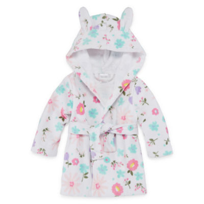 Okie Dokie Floral Hooded Bath Robe - Baby Girl