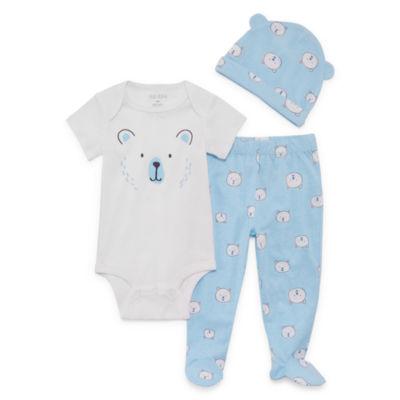 Okie Dokie Blue Bear Bodysuit, Foot Pant, & Hat Set - Baby Boy NB-9M
