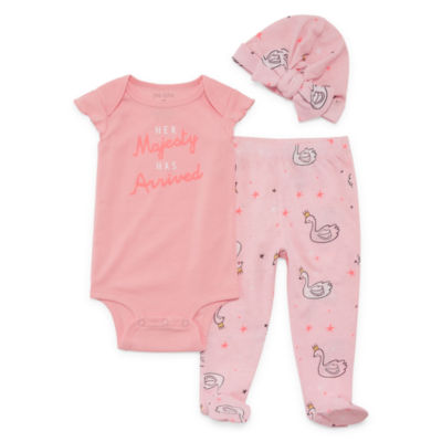 Okie Dokie Swan Bodysuit, Footed Pant, & Hat Set - Baby Girl NB-9M