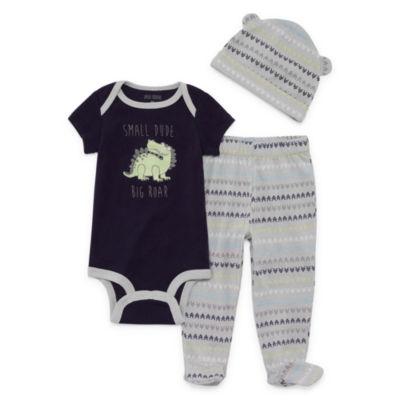 Okie Dokie Dinosaur Bodysuit, Footed Pant, & Hat Set - Baby Boy NB-9M