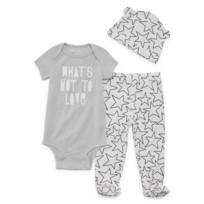 Okie Dokie Star Bodysuit, Footed Pant, & Hat Set - Baby NB-9M