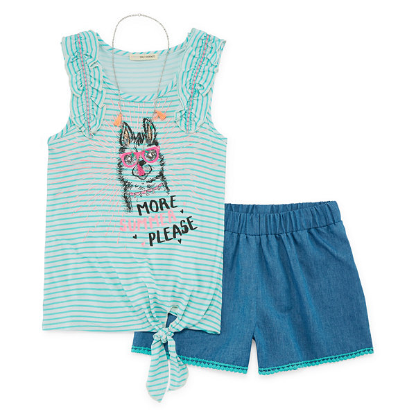 Self Esteem Striped Tank Top Short Set - Girls' 4-16 and Plus