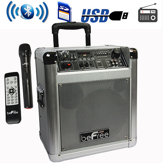 beFree Sound Sleek 10 Inch Professional Portable Bluetooth PA Speaker with Remote Control, Microphone, FM Radio, SD and USB Inputs