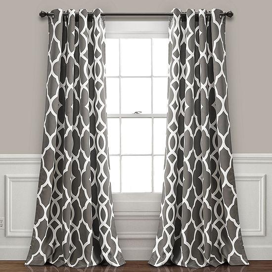 Lush Decor Connor Geo Room Darkening Window Curtain Panel Set