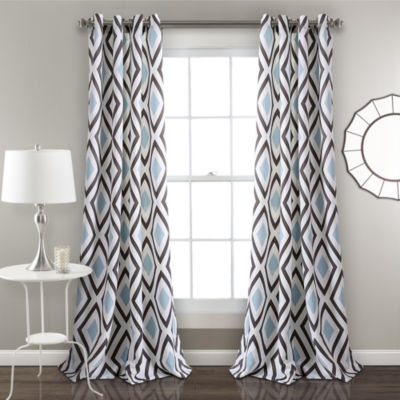 Lush Decor Kevin Diamond Room Darkening Window Curtain Panel Set