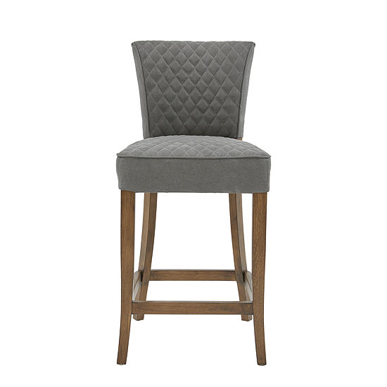 Diamond Quilted Linen Counter Stool
