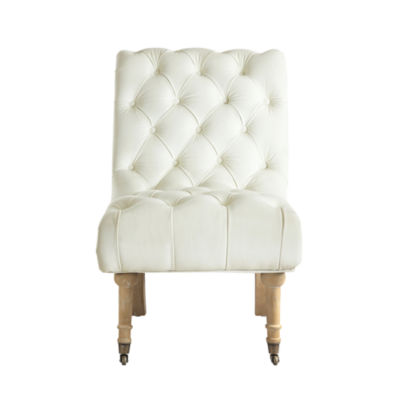 Inspired Home Amos Velvet Rolled Back Tufted Armless Slipper Accent Chair Caster Front Legs