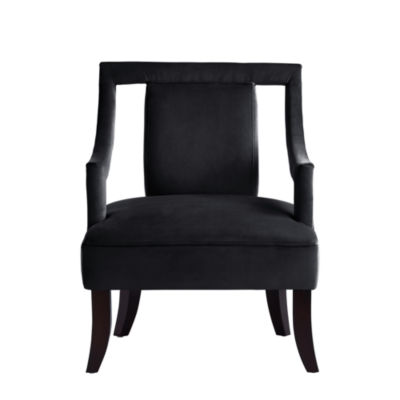 Inspired Home Frida Velvet Swoop Arm Square Back Open Sides Accent Chair