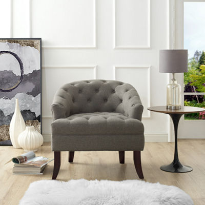 Inspired Home Luis Linen Barrel Diamond Tufted Accent Chair