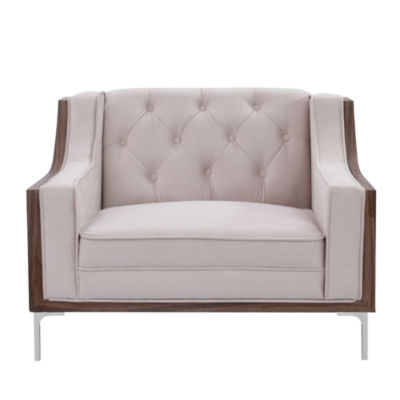 Inspired Home Tasmin Velvet Modern Contemporary Button Tufted Sloped Arm Club Chair with Silvertone Chrome Y-leg