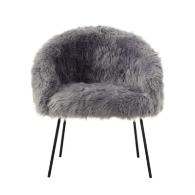 Inspired Home Zali Faux Fur Powder Coated Metal Leg Accent Chair