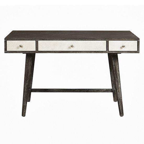 Two-Tone Mid-Century Modern 3-Drawer Writing Desk