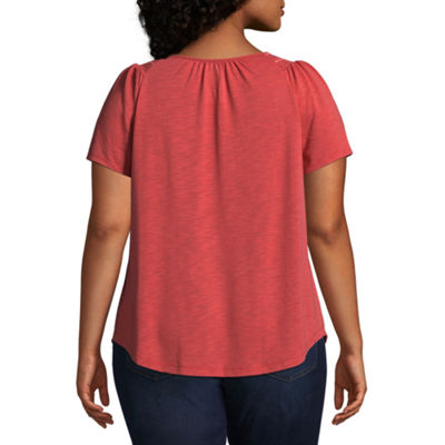 St. John's Bay® Smocked Square Neck Top - Plus