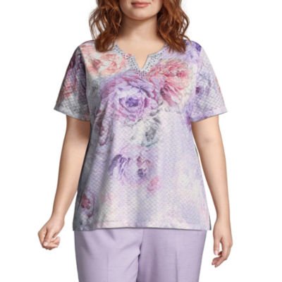Alfred Dunner Roman Holiday Texture Floral Top- Plus