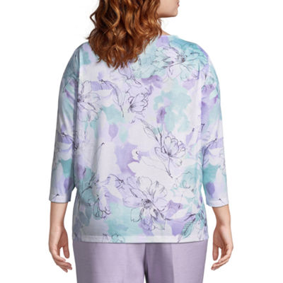 Alfred Dunner Roman Holiday Etched Floral Top- Plus