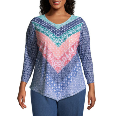 Alfred Dunner Sun City Chevron Tee- Plus