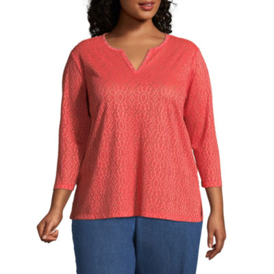 Alfred Dunner Sun City Lace Tee- Plus