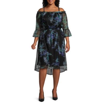 Worthington Printed Mesh Dress - Plus