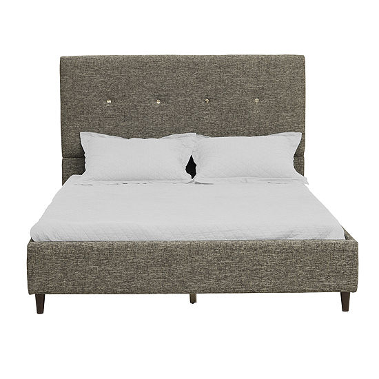 Gold Button Tufted Upholstered Bed