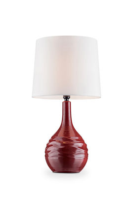 "Ore International 25"" Kapila Red Ceramic Table Lamp"