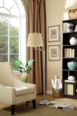 "Ore International 65.5"" Manni Silver Nickel Swing Arm Floor Lamp"