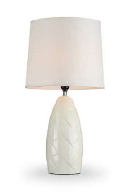 "Ore International 25"" Amala Ivory Ceramic Table Lamp"