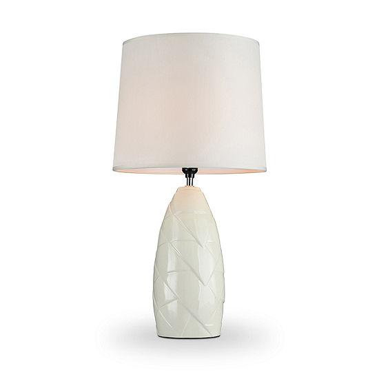 """Ore International 25"""" Amala Ivory Ceramic Table Lamp"""