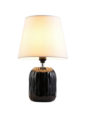 "Ore International 15"" Indira Black Ceramic  Table Lamp"