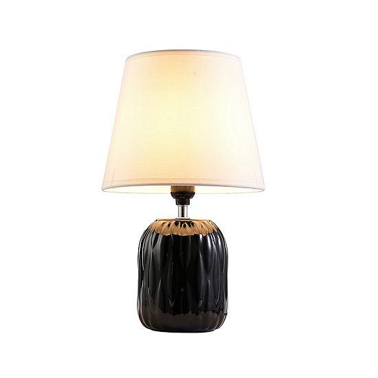 "Ore International 15"" Indira Black Ceramic  Table Lamp"