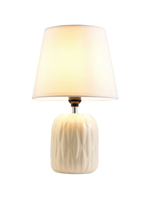 "Ore International 15"" Chandra Ivory Ceramic Table Lamp"