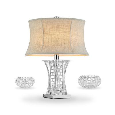 """Ore International 26.5"""" Lunette Glass Table Lamp + Vase, C/H Set"""