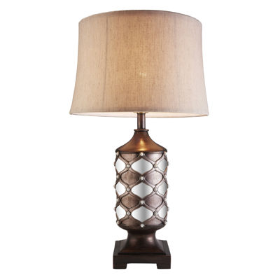 "Ore International 29.5""H Arabesque Mirror Table Lamp"
