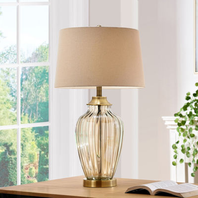 "Ore International 38.5"" Golden Gaze Glass Table Lamp"