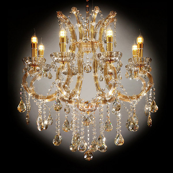 "Ore International 30"" Gallant Cognac Crystal Led Ceiling Lamp"
