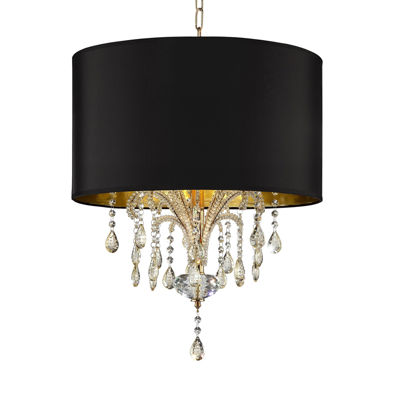 """Ore International 25"""" Bellissimo Crystal Gold Ceiling Lamp"""