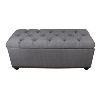 "Ore International 18"" Tufted Grey Storage Bench + 3-pc.Ottoman Seating"