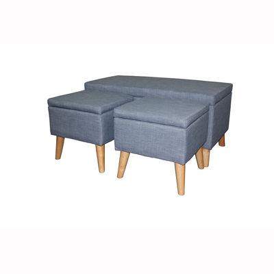 "Ore International 18"" Storage Bench + 2 Storage Ottoman Seating"