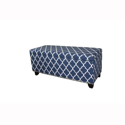 "Ore International 18"" Diagonal Moroccan Stripes Denim Blue Storage Bench"