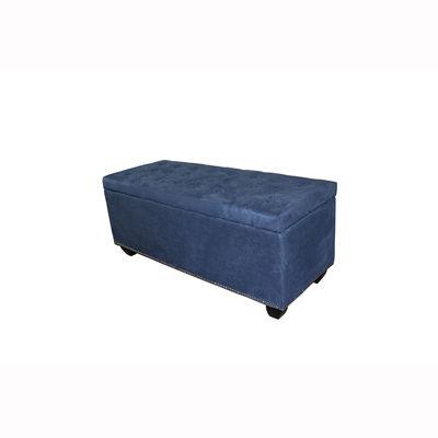 "Ore International 18"" Tufted Blue Suede Storage Bench"
