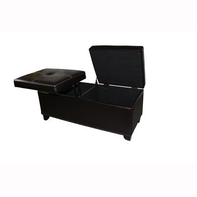 "Ore International 15"" Leatherette Storage Bench + Lift Top Table"
