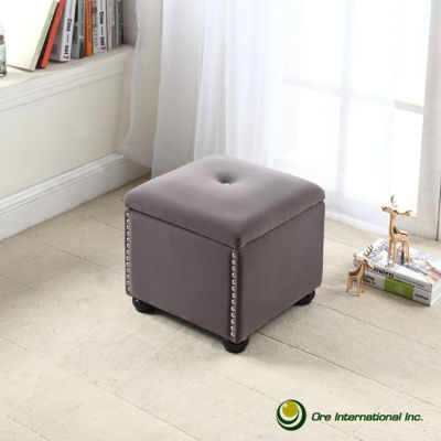 "Ore International 16.5"" Suede Storage Bench with Additional Seat"""