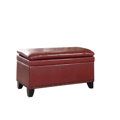 "Ore International 17"" Double Cushion Nail Head Storage Bench"