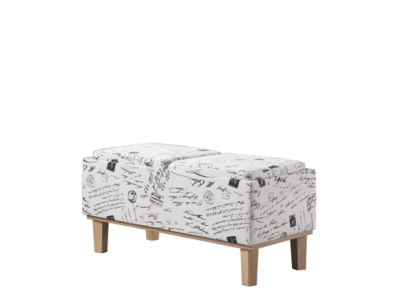 "Ore International 17"" Stencils Letter Pattern SeatFlip Storage Bench with Unfinish Legs"
