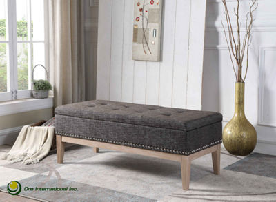 "Ore International 18"" Tufted Mid-Century Storage Bench with Unfinish Legs"""