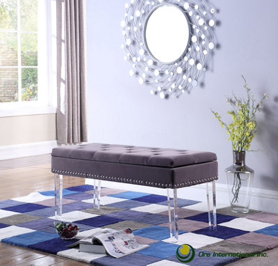 "Ore International 18"" Tufted Mid-Century Storage Bench Nailhead Trim with Acrylic Clear Legs"