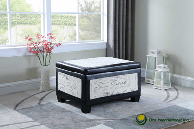 "Ore International 19"" Old World Bonded Leather Accent Trim Storage Ottoman with 2 Seating"