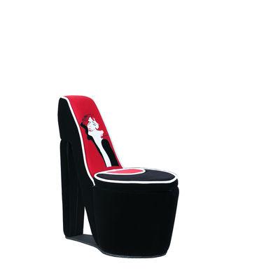 "Ore International 32.86"" In Glamor Girl White Piping Black/ Red High Heel Storage Chair"